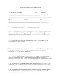 Subcontractor Agreement Format Contractor Subcontractor Agreement Business Forms