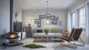 Scandinavian Design Living Room Living Room Gray Sofa And White Shelves With Gray Recliners Plus