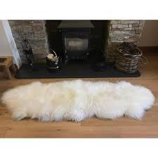 british premium quality natural white sheepskin rug size double