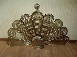 antique vintage art deco style brass clam seashell fan ornate fireplace screen