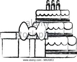 Sketch Of Birthday Cake Sketch O Birthday Cake And Gift Boxes Icon