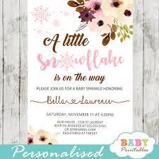 Snowflake Baby Shower Invitations Blush Snowflake Baby Shower Invitations D405 Baby Printables