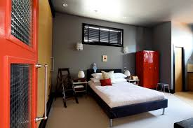 gray and red bedroom. extravagant red door interiors white bed gray brown wall gray and bedroom