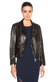 image 5 of 3 1 phillip lim moto jacket with detachable wool collar in black