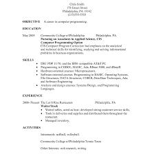 Cute Resume Cover Letter For Restaurant Server With Cover Letter