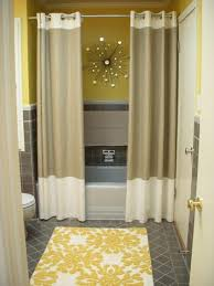 bathroom, Yellow Accents Wall Paint For Modern Bathroom Interior With Brown  Curtain Idea Plus Awesome