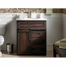 bathroom vanity with barn door astound style selections 30 in morriston brown home ideas 12