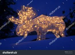 Outdoor Lighted Moose Lighted Outdoor Holiday Moose Decoration Stock Photo Edit