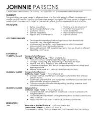 fleet manager resume