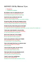 sonnet mrtarsitano sonnet 130 my mistress` eyes paraphrase traduzione in italiano