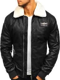 men s leather pilot jacket black bolf ex837