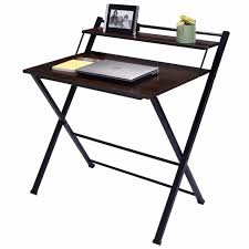 giantex 2 tier folding computer desk home office furniture modern wood workstation table foldable study