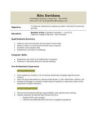 Brilliant Ideas Of College Freshman Resume No Work Experience 6134