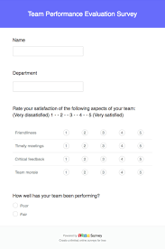 Questionnaire Questions For A Business Team Performance Evaluation Survey Questions And Template