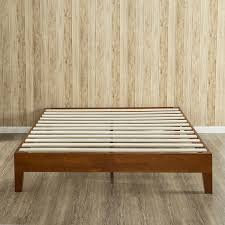 cherry finish deluxe solid wood platform bed  zinus