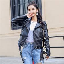 2019 autumn pu leather jacket women fashion bright colors black motorcycle coat short faux leather biker jacket soft jacket female from yangfan515
