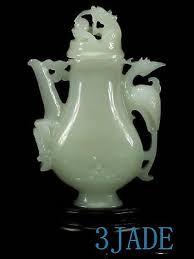 <b>Natural</b> Afghanistan <b>Jade</b> / Calcite Dragon Phoenix Vase / Teapot ...