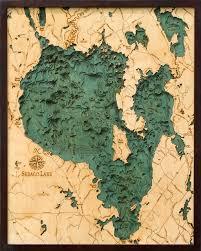Sebago Lake 3 D Nautical Wood Chart 24 5 X 31