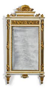An Italian neoclassical green-painted parcel-gilt mirror probably Naples,  late 18th century