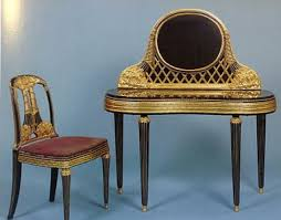 dressing table and chair of marble and encrusted lacquered and glided wood by paul follot 1919 1920
