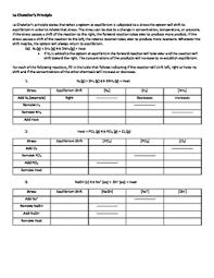 Equilibrium Le Chatelier Worksheets Teaching Resources Tpt