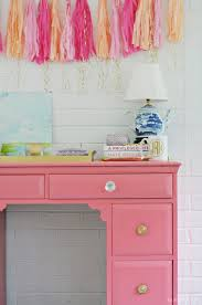 posh office furniture. Pink Desk | Painted Furniture Garland Tissue Paper Playroom Posh Office