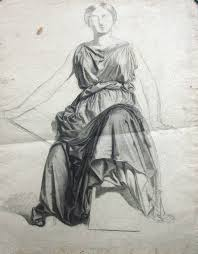Drapery Drawing Figure Drawing Of A Woman And The Drapery Of Her Dress