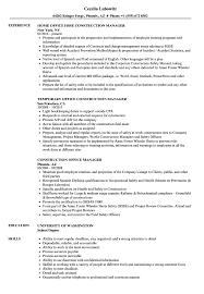 Construction Office Manager Resume Samples Velvet Jobs