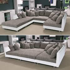 Wohnlandschaft Claudia Xxl Ecksofa Couch Sofa Mit Hocker Weiß Und Graubeige Ebay