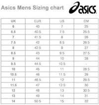 Asics Tiger Size Chart Uk The Gallery For