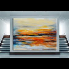 large size abstract sunset oil painting on canvas modern colorful original art wall paintings home decor pictures handpainted in painting calligraphy from