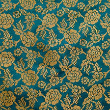 Floral Brocade Navy Green And Golden Floral Brocade Silk Fabric By The Yard