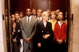 people talking in elevator. people talking in elevator e