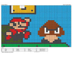 Megapixel Characters Coloring Squared Super Mario Coloring Pages