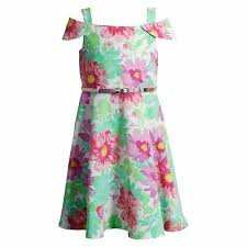 Youngland Floral Off The Shoulder Dress With Belt Size 5