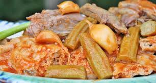 tashreeb bamya okra stew with bread cooking rice