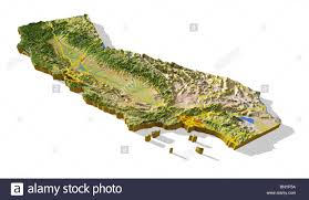 california d relief map cutout with urban areas and interstate