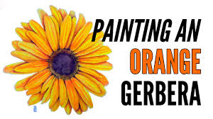 how to paint a gerbera daisy with inktense in orange
