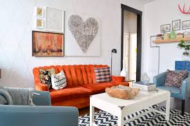 Orange And Blue Living Room Living Room Cobalt Blue Painting Wall White Buttonback Loveseat