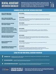 Questions To Ask A Dental Assistant Dental Assistant Interview Checklist Infographic Howard