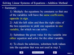table of contents slide 12 solving linear systems of equations addition method summary 1