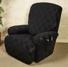 awesome black slipcover for reclining upholstered chair with plaid pattern and side tv remote holder