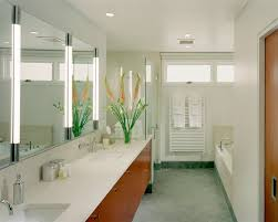 robern bathroom modern with ceiling lighting double sinks double vanity floral arrangement frameless shower enclosure neutral bathroom contemporary bathroom lighting porcelain