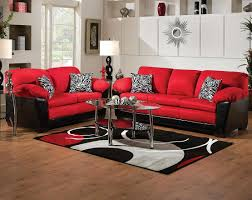 Cardinal Leather Red Black Fabric Sofad Loveseat bo Discount