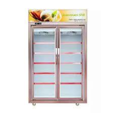 fan cooling double door glass door upright display freezer