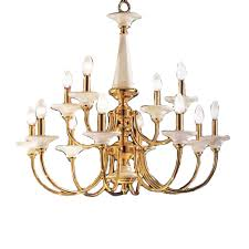 classic lighting spanish ceramic 30 in 12 light polished brass williamsburg tiered chandelier