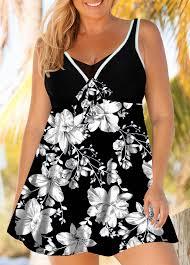 Modlily Size Chart Flower Print Plus Size Swimdress And Shorts Modlily Com Usd 30 46