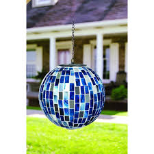 Amazon Com Carson Blue Mirror Mosaic Solar Orb Home Decor