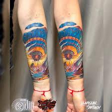 Tatuaggio Con Mongolfiera Colorato Sullavambraccio Tattooimagesbiz