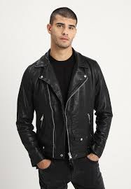 brett biker leather jacket black